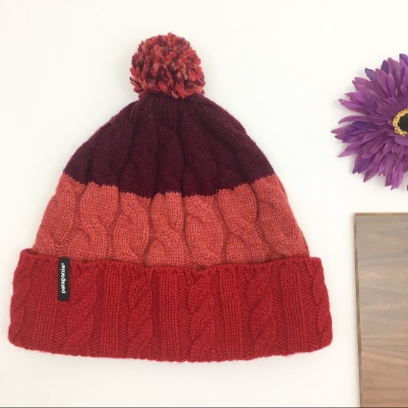 93c39a2d04c Red Patagonia Striped Knit Pom Pom Beanie Hat OS. M 5c42b8efc61777eef05c8904